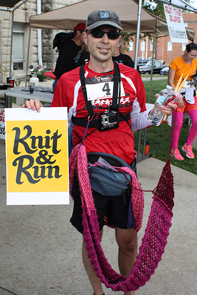 image after running and knitting during a half marathon