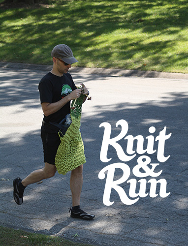 image of David running while knitting and knit&run logo
